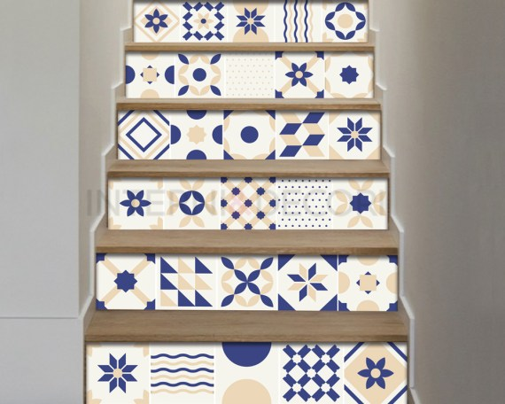 Decorazione per scale-white and blue stairs-Adesivo per scale