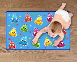 Adesivo per pavimenti-gufetto su sfondo azzurro-tappeto adesivo