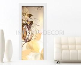 Adesivo per porte-sfumature floreali color ambra