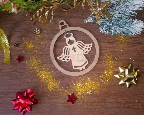 Decorazione legno a taglio laser-angelo con croce