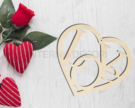 Decorazione taglio laser-love in the heart-cuore S. Valentino