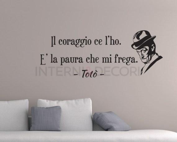 Adesivo murale frase-ll coraggio ce l'ho-adesivo da parete