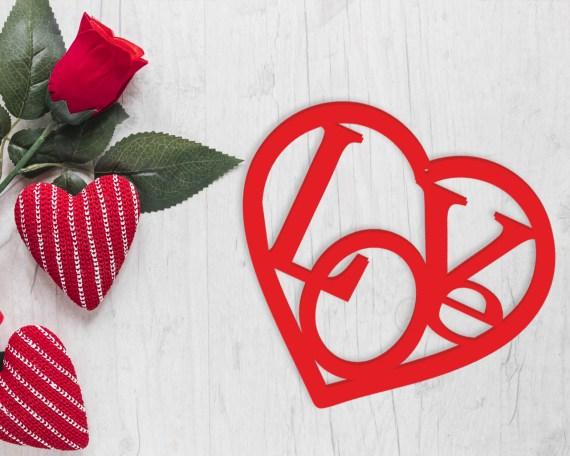 Decorazione taglio laser-love in the heart-cuore plexiglass amore