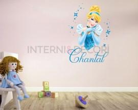 Adesivi personalizzati con nome-Cinderella tra stelline-adesivo murale con nome