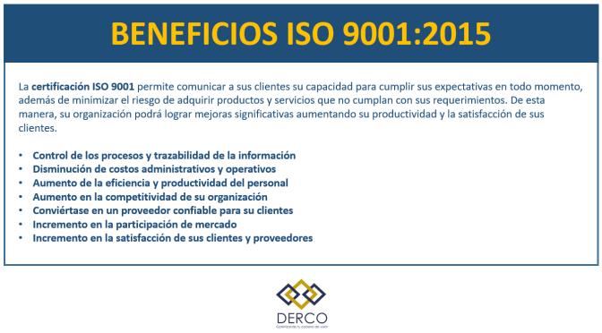 Certifica tu empresa en ISO 9001:2015 con DERCO Consultores