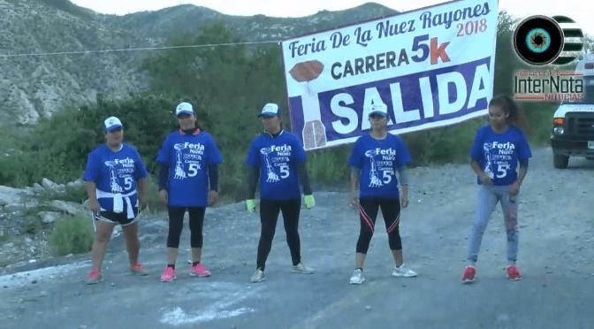 DENTRO DEL EVENTO DE LA FERIA DE LA NUEZ 2018 SE LLEVÓ A CABO UNA CARRERA 5K EN DONDE PARTICIPARON JÓVENES Y ADULTOS EN EL CUAL SE LE ENTREGÓ UN PREMIO DE 3000 PESOS AL PRIMER LUGAR EN DONDE ESTUVO PRESENTE LA ALCALDESA SANDRA MARGARITA SALAZAR EN EL MUNICIPIO DE RAYONES N.L.