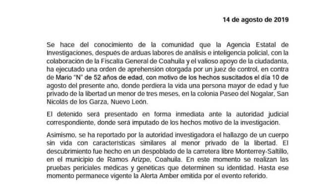 SE CONFIRMA LA DETENCIÓN DEL HOMICIDA DEL PEQUEÑO DEREK Y SU PADRE ÓSCAR.