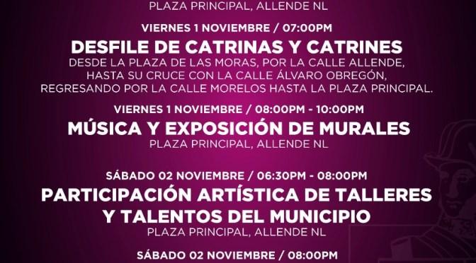 PRÓXIMO FESTIVAL DEL DÍA DE MUERTOS EN ALLENDE, N.L.