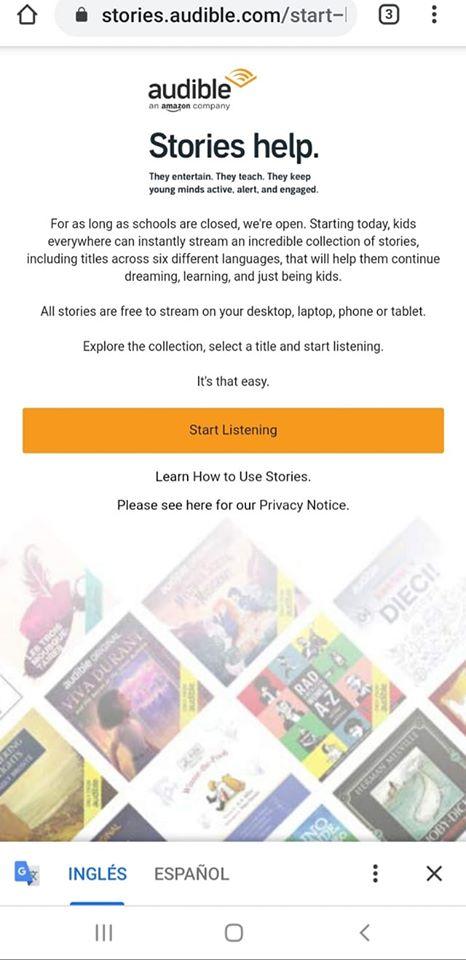 Amazon pone a disposición totalmente gratis d una colección de libros e historias de audio para niños en seis idiomas diferentes las cuales podran ser escuchadas en su computadora, teléfono o tableta usando el siguiente enlace: