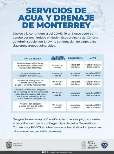 AGUA Y DRENAJE CONFIRMA LA CONDONACIÓN DE PAGOS DURANTE CONTINGENCIA POR COVID-19 EN NL.