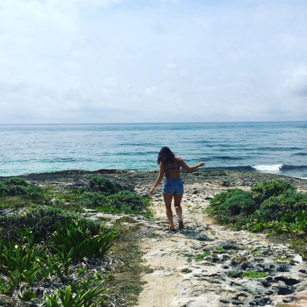 Exploring Cozumel, Mexico in jean shorts and a bikini.
