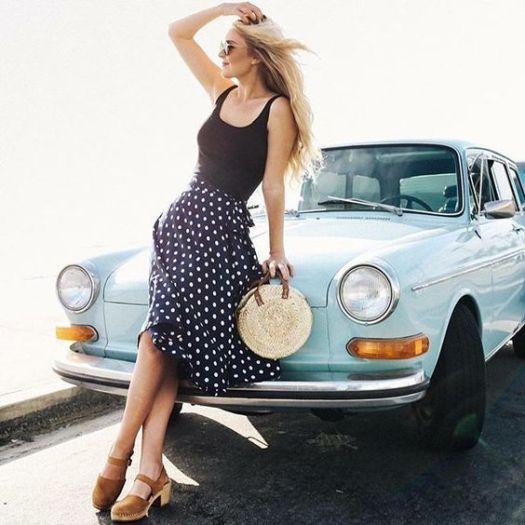 3. Long Polka Dot Skirt