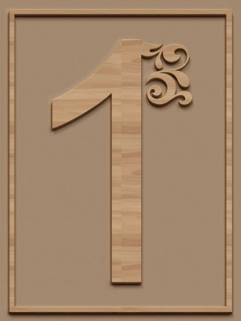 A Wooden Carved Number 1 In A Wooden Frame
