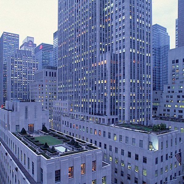 A sky view of the rockefeller towers