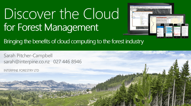 Discover the Cloud for Forest Management at NZIF Conference 2013