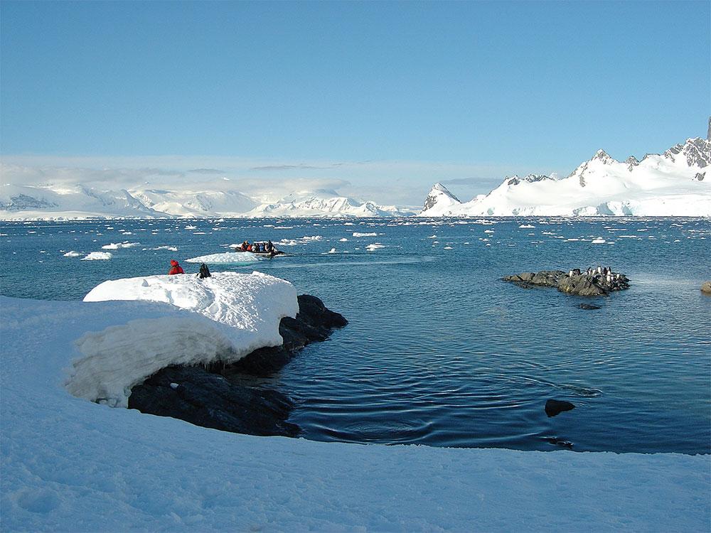 Antártida - exploração em botes infláveis (Zodiac)
