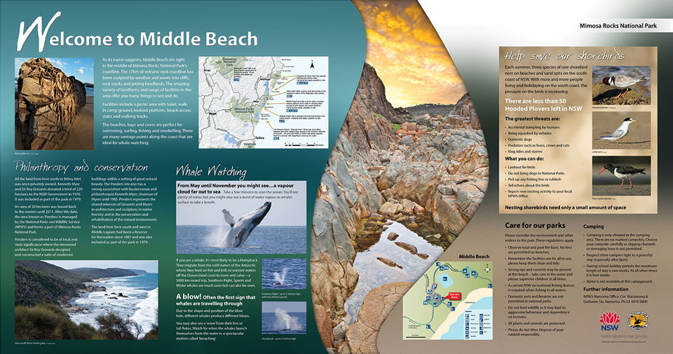 Middle Beach nature tourism signage