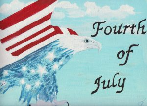 Honoring the Fourth of July! Acrylic painting by Joni, Monti Lacombe's mother (Interprose's Office Admin).