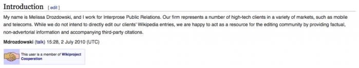 Wikipedia COI Declaration