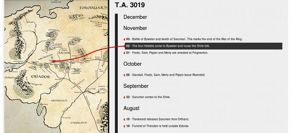 """""""geospatial timeline"""" do livro com o mapa na direito mostrando onde ocorreu o evento selecinado a esquerda"""