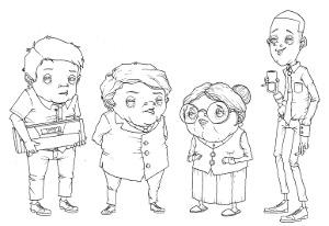 Desenho com as proporções dos personagens