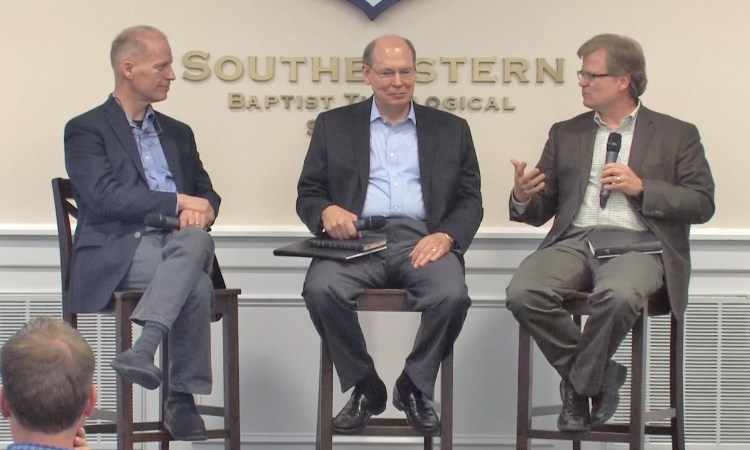 Ken Keathley, Craig Blaising and Stephen Wellum at Southeastern Seminary
