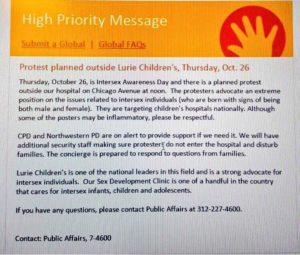 Mensaje de alta prioridad del Hospital Infantil