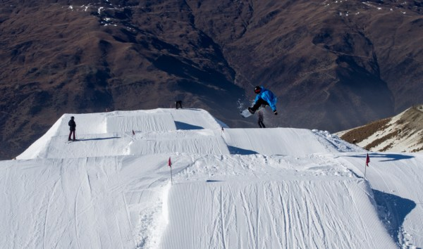 Sean Thompson styling out a frontside 3 on the new Cardrona intermediate jump line called Antlers Alley