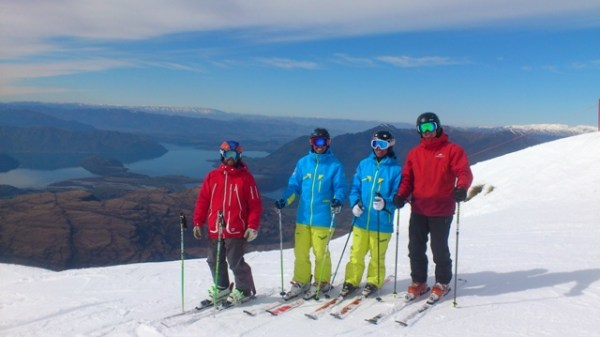 Left to right: Jon Ahlsén, JF Beaulieu, Jonathan Ballou and Andreas Spettel. Beautiful Treble Cone and Wanaka serving as backdrop.