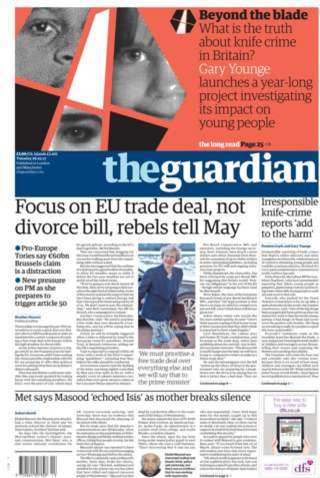 Guardian front page - 28/03/17