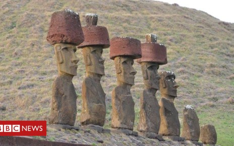 102037813 moaistanding - How hats were placed atop the Easter Island statues