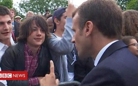 102103658 p06bhg3l - Macron tells teen to call him 'Mr President'