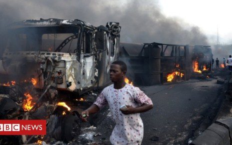 102254388 hi047808801 - Nigeria fuel truck blaze kills at least nine