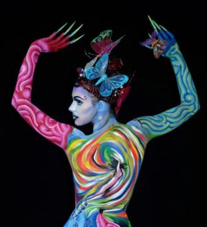 A model poses for a picture at the 21st World Bodypainting Festival 2018