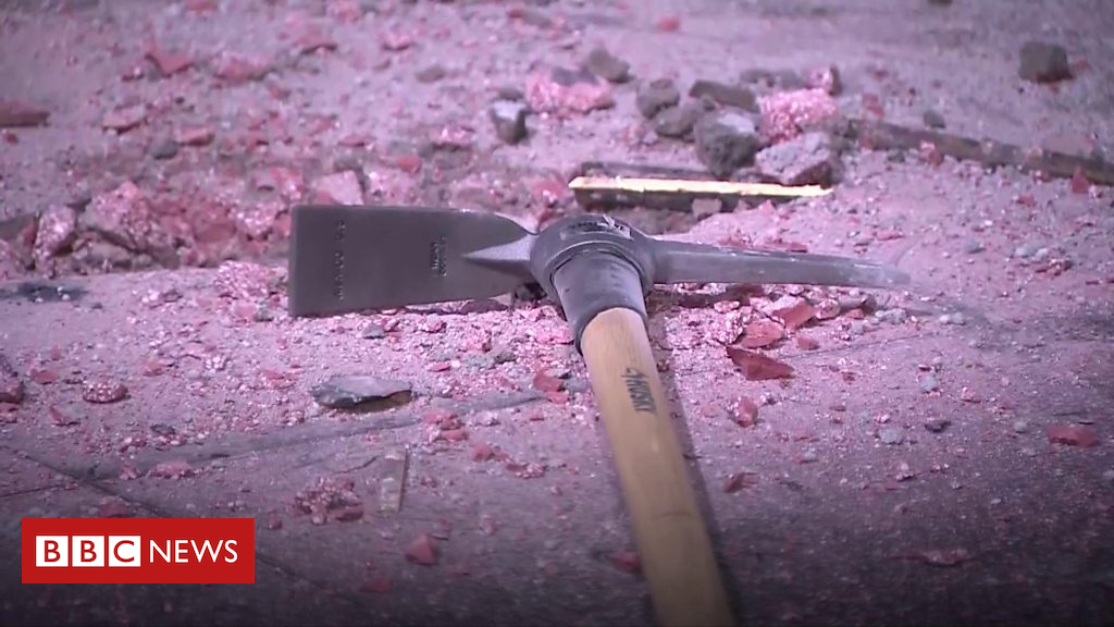 102691126 p06fpxq3 - Donald Trump's Hollywood star destroyed with pick axe