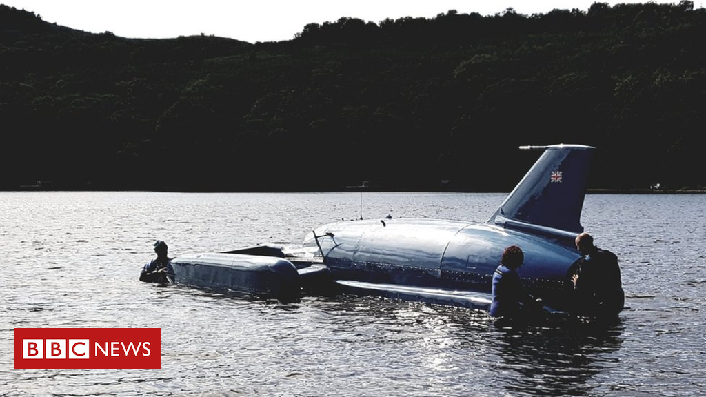 102829538 blue - Donald Campbell's Bluebird hydroplane returns to water