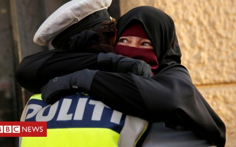 103589628 048451364 - Danish policewoman investigated for hugging niqab-wearing protester