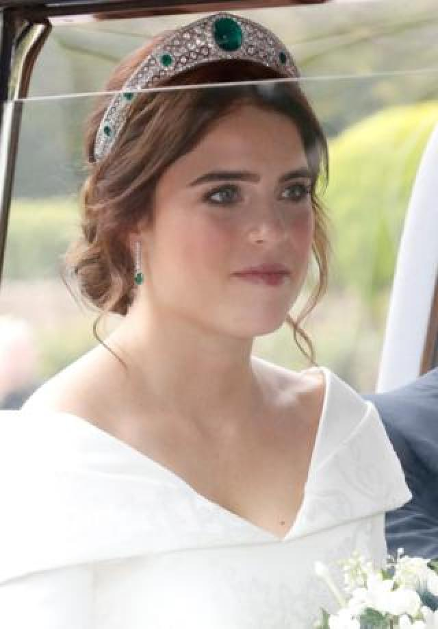 The bride Princess Eugenie of York arrives by car for her wedding