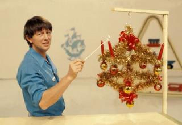 John Noakes with the Blue Peter advent calender