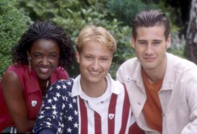 Blue Peter presenters Diane-Louise Jordan, Stuart Miles and Tim Vincent