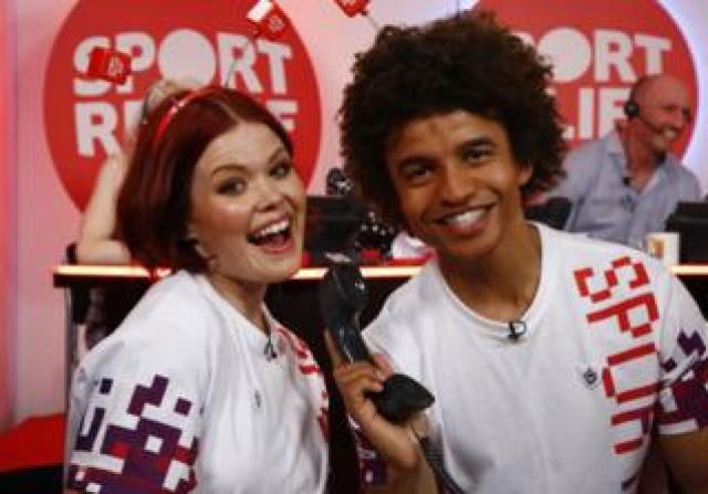 Lindsey Russell and Radzi Chinyanganya on Sport Relief in 2018