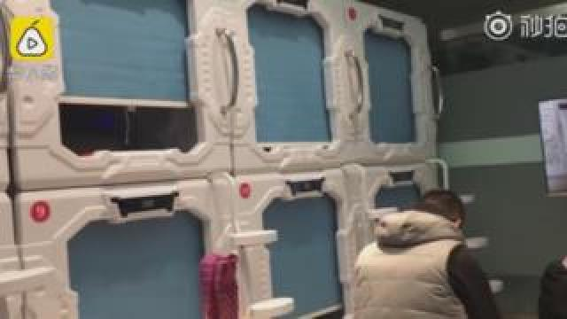 The capsule hotel in a Luoyang hospital