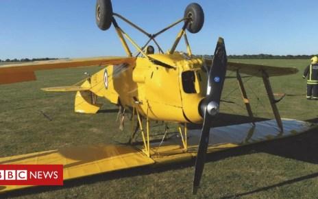 104242991 ced6b569 1bb0 479d b662 cfa0e22a0802 - 'Sudden gust' flips plane on Sywell Aerodrome landing