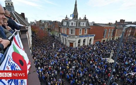 104259545 p06rdcvf - Leicester City fans march in honour of owner