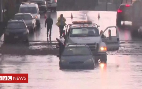 104682878 p06ty87h - Flooding and snow as storm hits California
