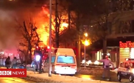 104838117 p06vs202 - Japan explosion: Fire and collapsed buildings after blast