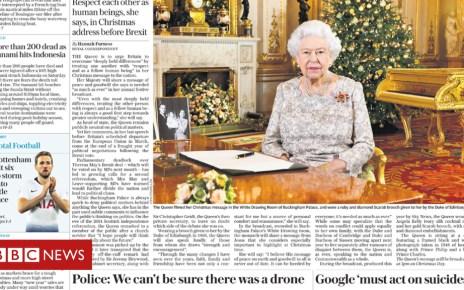 104932987 telegraph - Newspaper headlines: Queen's speech and Gatwick probe criticism
