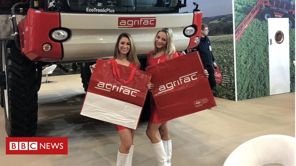 105128658 agrifac - Model defends 'harmless' role at agricultural show