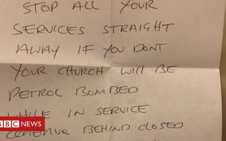 105208498 jan16 letterfromandrewbrowne - 'Petrol bomb' threats sent to churches and supermarkets