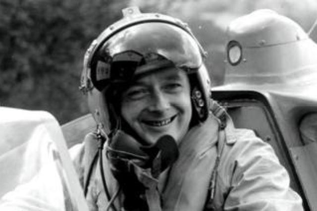 Donald Campbell in the Bluebird cockpit, photographed in 1958